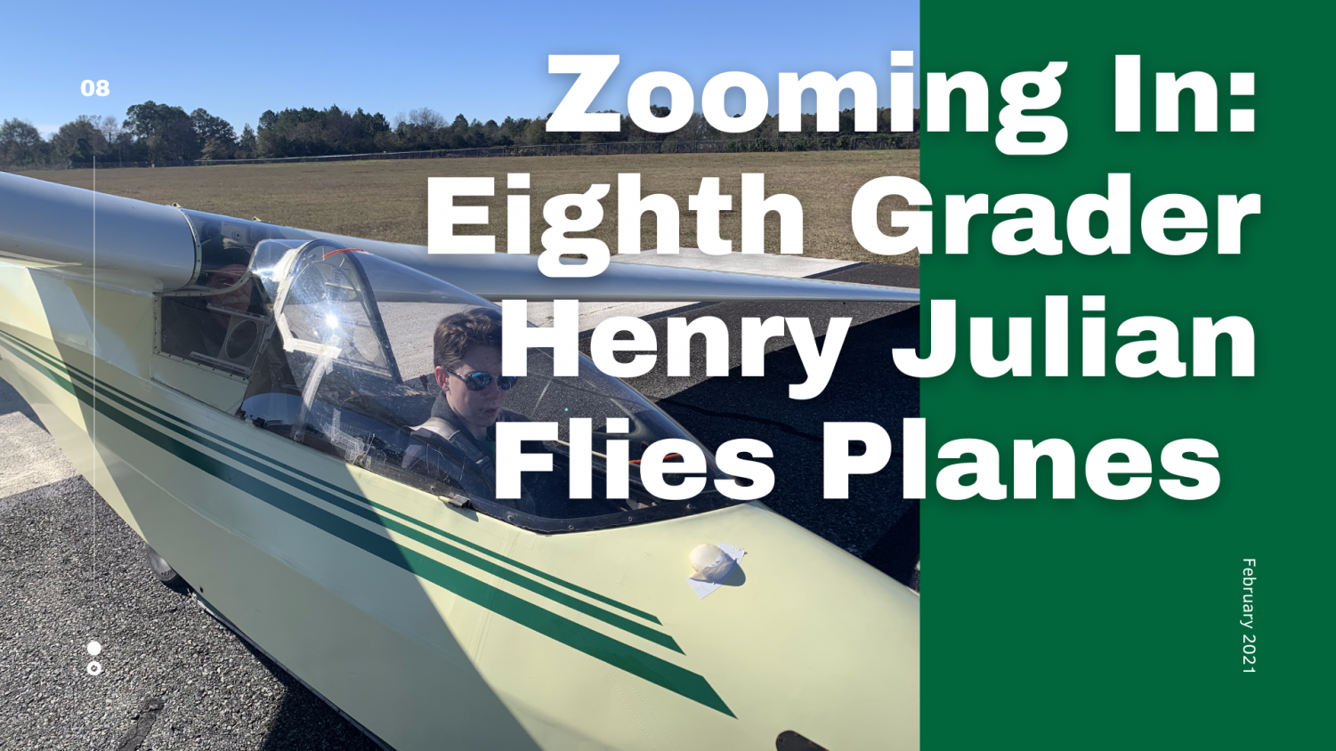 Henry J. in a K-8 plane after a 40 minute flight with his instructor Mr. Glenn.