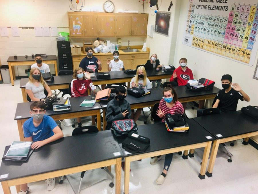 First day of school, students wearing masks.