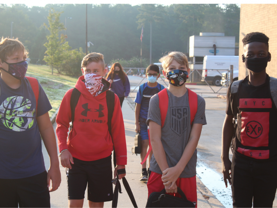 6th Graders in masks on the first day of school